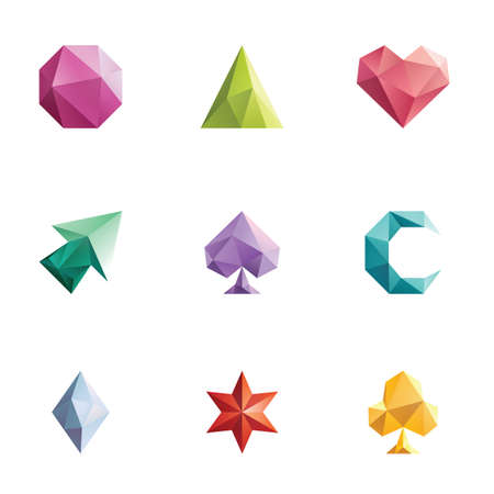faceted icons Illustration