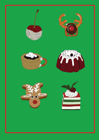 collection of christmas snacks Stock Vector - 81536847
