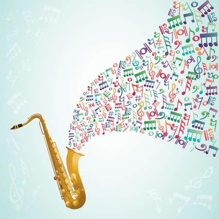 tromba con note musicali che escono