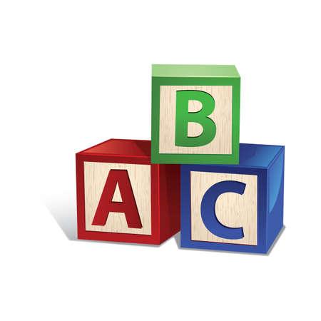 木製の文字ブロック玩具