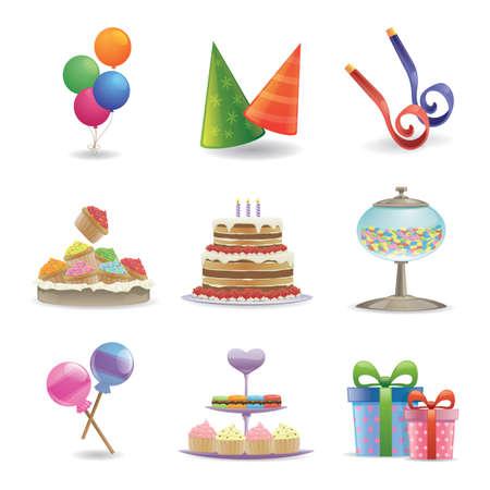 set of birthday icons Stock Illustratie