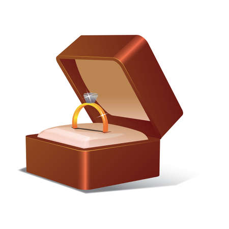 Ehering in einem Kasten Standard-Bild - 81419742