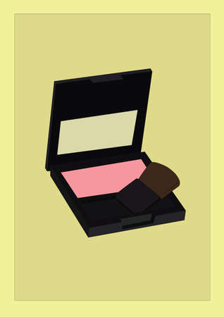 compact powder with brush 일러스트