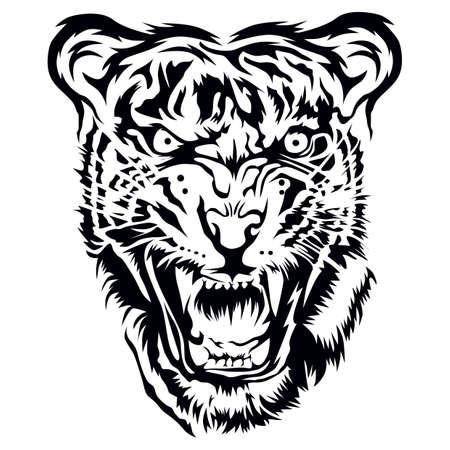 Tiger head tattoo design. Illustration