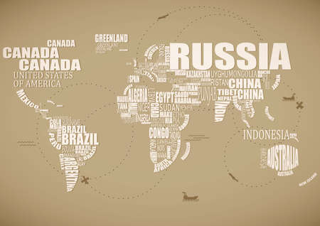 country word cloud in the shape of a map Illustration