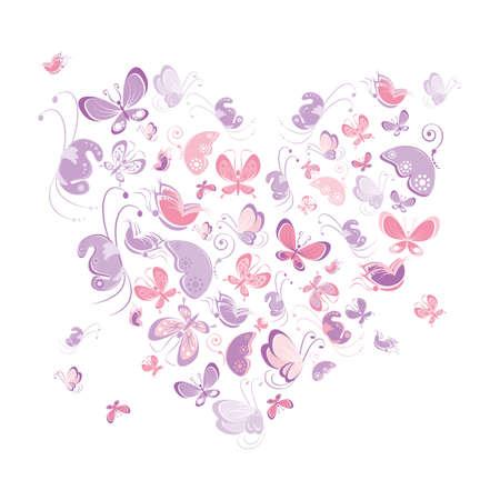 Heart shape of butterflies. Ilustracja