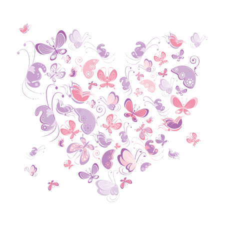 Heart shape of butterflies. Illustration