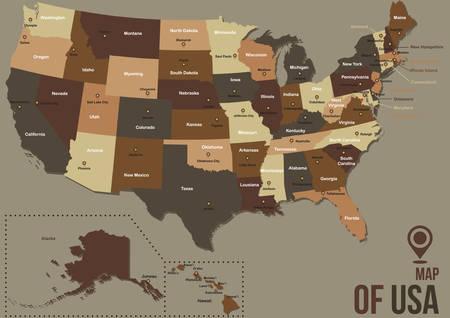 Mapa de EE.UU.. Foto de archivo - 81470252