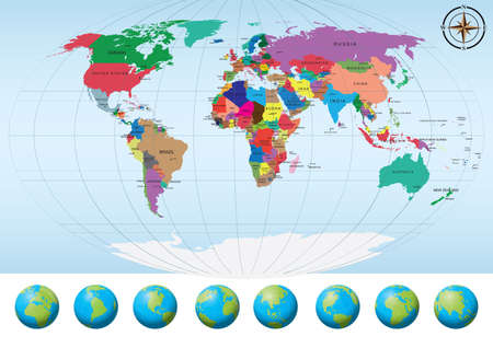 World map with globes.