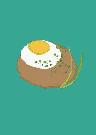 달걀에 패티 일러스트