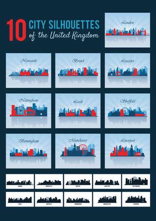 city silhouettes of united kingdom Иллюстрация