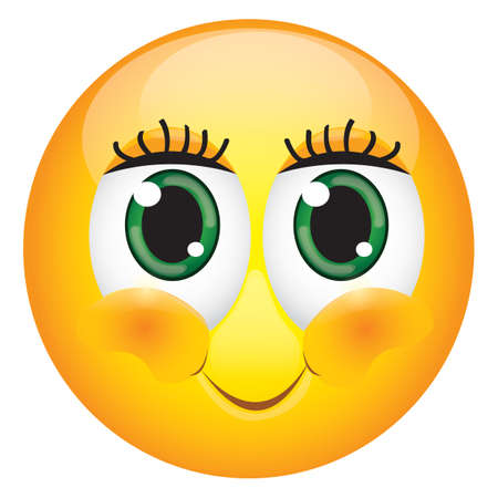 cute eyelashes emoticon Ilustrace