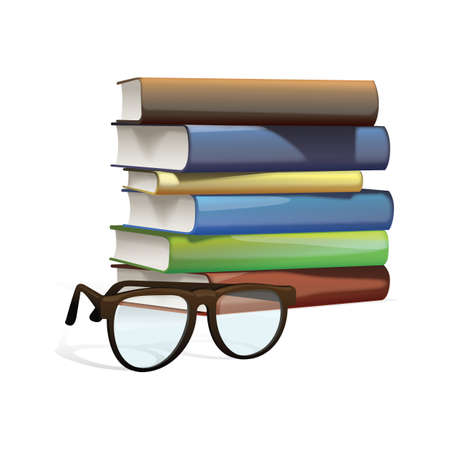 a stack of books with glasses