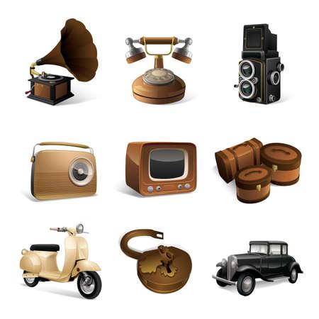 Conjunto de iconos de la vendimia Foto de archivo - 81419928