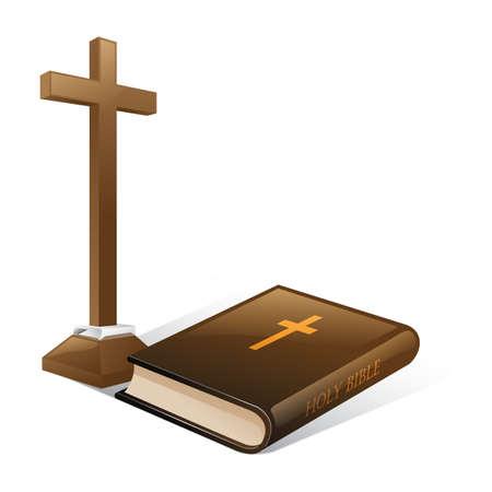 聖書と十字架  イラスト・ベクター素材