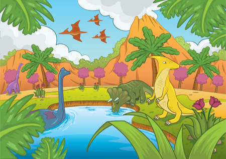 dinosaurs in prehistoric time Illustration