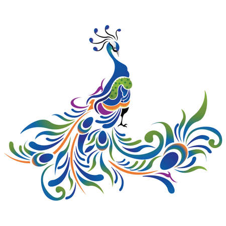 peacock pattern icon 일러스트