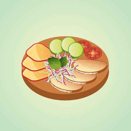 フード盛り合わせ  イラスト・ベクター素材