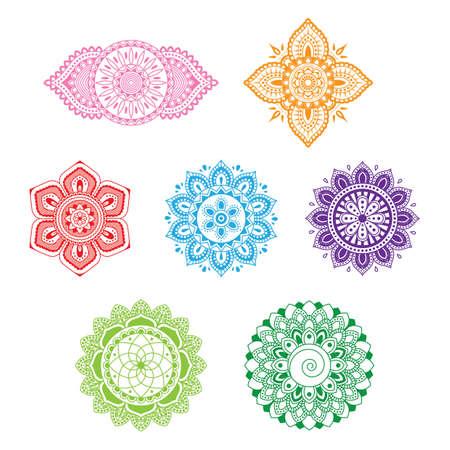 set van prachtige decoratieve chakra's Stock Illustratie
