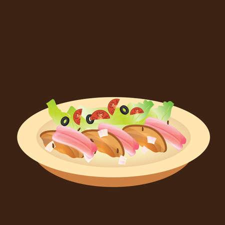 sashimi met champignons en salade