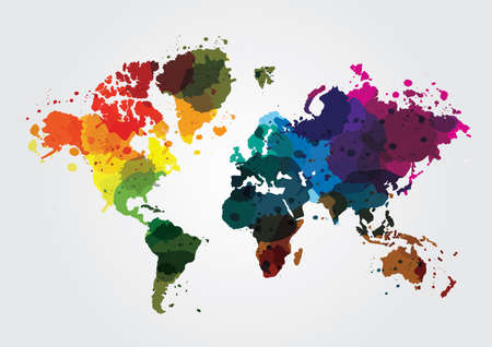 world map with colorful colors Illustration