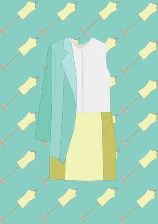 top and skirt with blazer