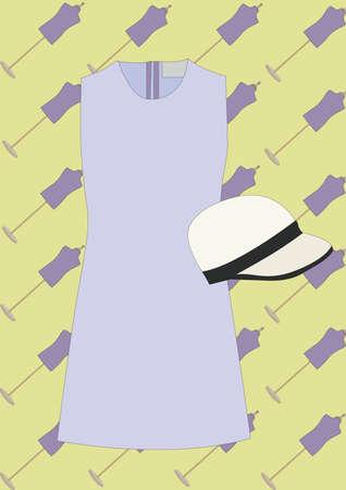 女性のドレスと帽子
