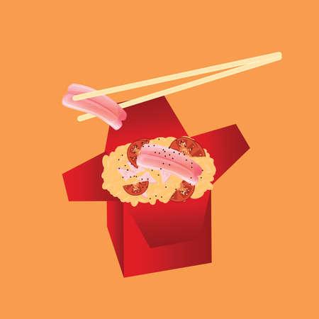sashimi with rice in takeaway box
