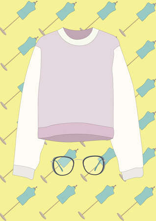 long sleeve top with spectacles 일러스트