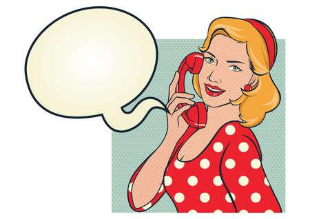 meisje in rode polka dots jurk praten aan de telefoon Stock Illustratie