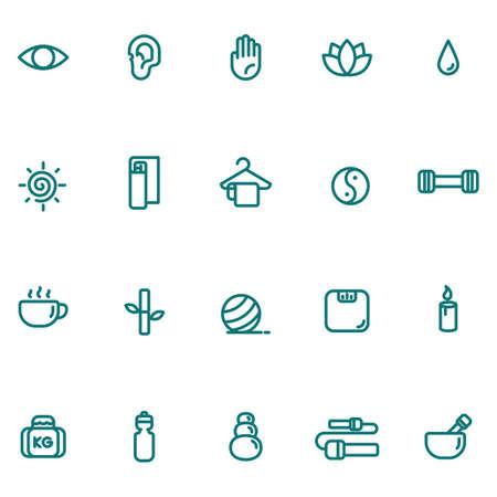 assorted exercise and zen icon set Illusztráció
