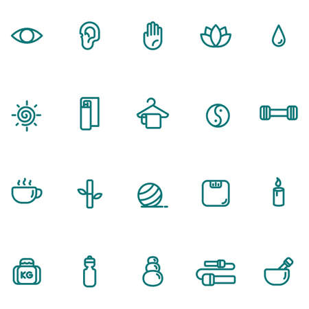 assorted exercise and zen icon set Illustration