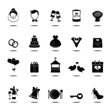 set of wedding icons 向量圖像