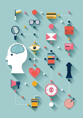 flat design of creative thinking icons 向量圖像