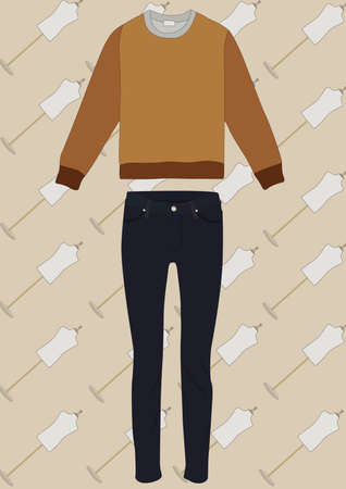 long sleeves top and pants Illustration