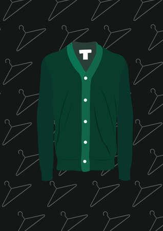 녹색 셔츠 카디건 일러스트