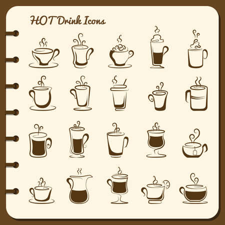 collection of hot drink icons