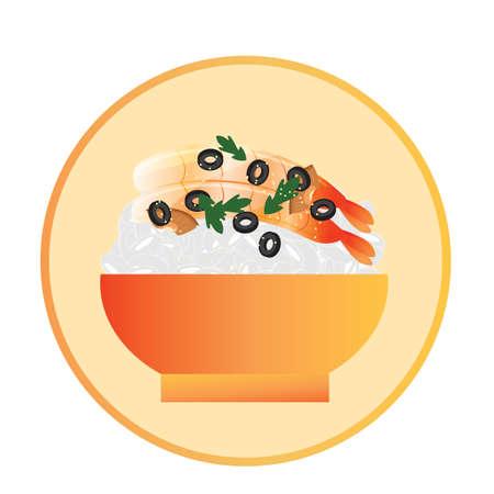 bowl of shrimp sashimi with rice Ilustrace