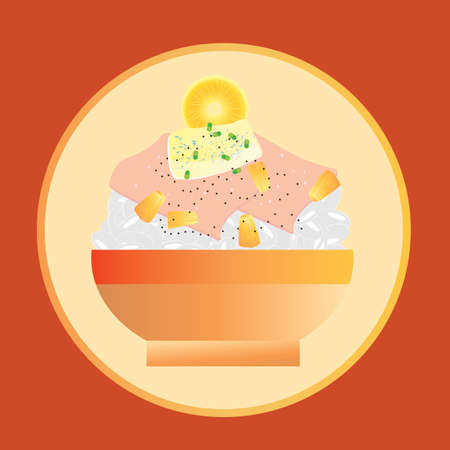 bowl of ham and rice Ilustracja