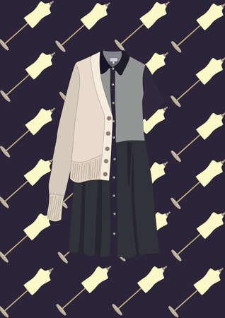 dress with coat Illustration