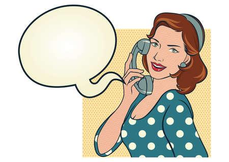 meisje in blauwe stippen jurk praten aan de telefoon.