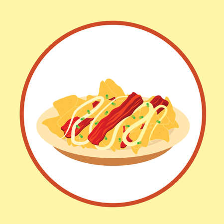nachos with bacon strips Illustration