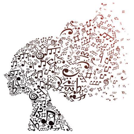 音楽の音符の女の子を形成