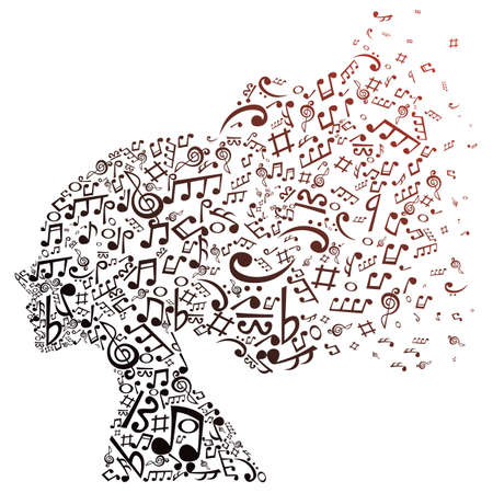 music notes forming a girl