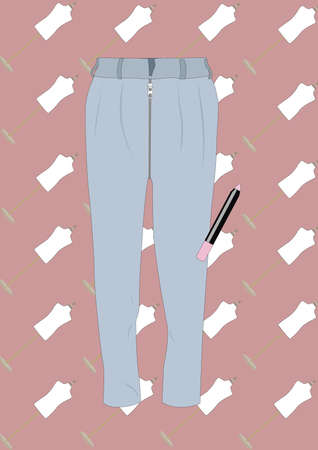 ズボンとクレヨン口紅  イラスト・ベクター素材
