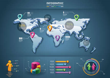 infographic of 3d world map Illustration