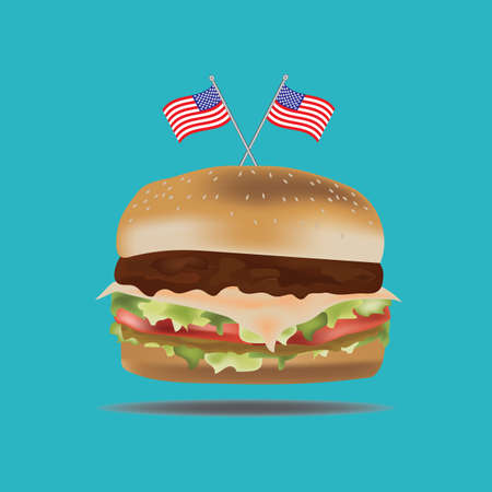 burger with usa flags