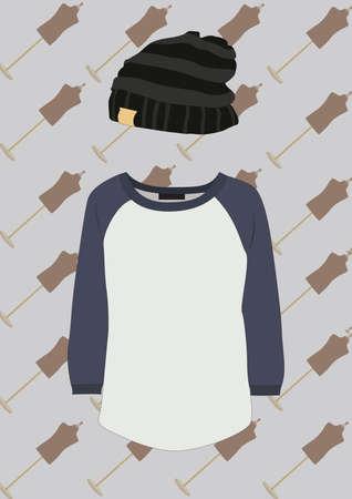 round neck t shirt and beanie Ilustracja