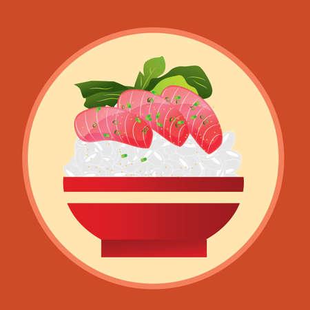bowl of tuna sashimi with rice Illustration