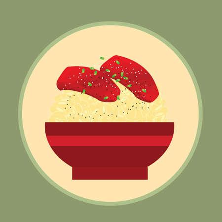 bowl of sashimi with rice